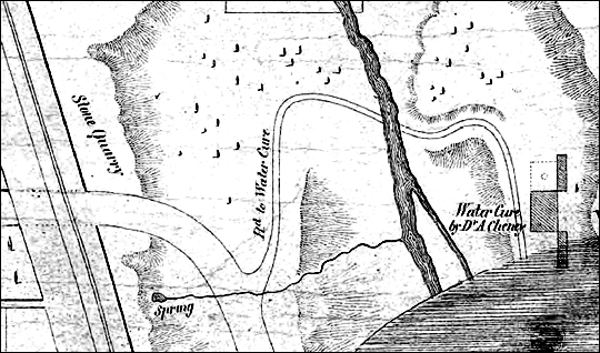Excerpt from 1855 map showing Water Cure location off of Grinnell Road