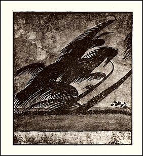 """Antioch bookplate design """"The Horseman"""""""